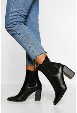 Black Block Heel Square Toe Chelsea Boots