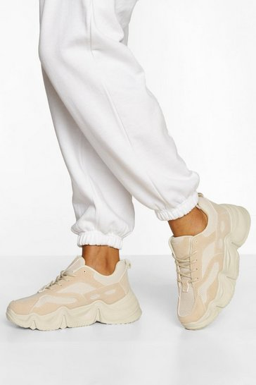 Stone beige Chunky Platform Lace Up Trainers