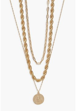 Gold metallic Chunky Twist Chain And Coin Layered Necklace