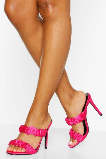 Pink Ruched Double Strap Stiletto Heel Mules