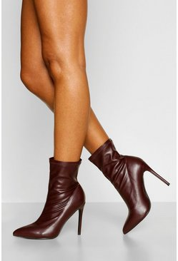 Chocolate brown Pointed Toe Sock Boots