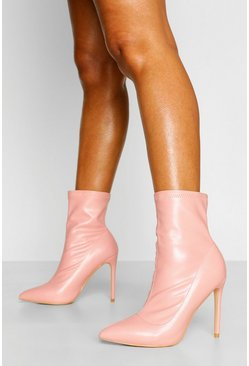 Pink Pointed Toe Sock Boots