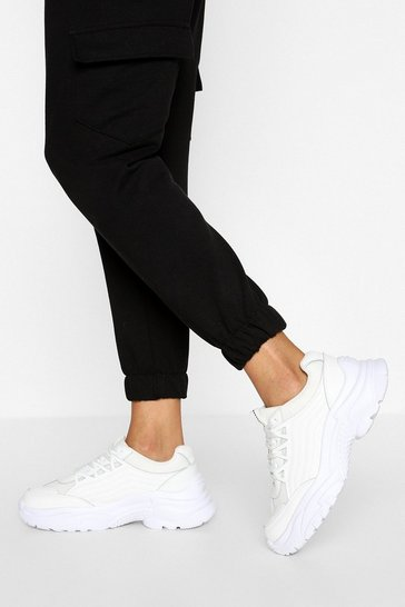 White Wide Fit Chunky Trainers
