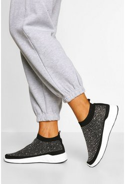Black Embellished Knitted Sock Trainers
