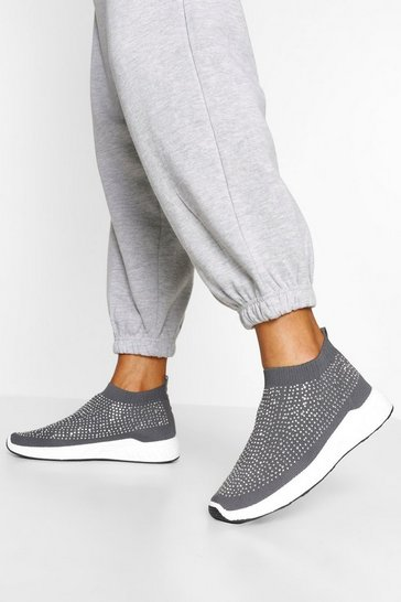 Grey Embellished Knitted Sock Trainers