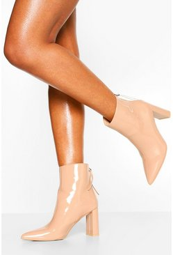 Pink Zip Back Pointed Toe Block Heel Shoe Boots