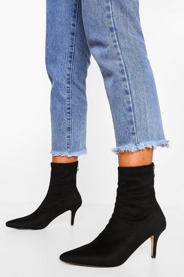 Black Pointed Toe Low Heel Sock Boots
