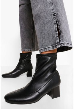 Black Loop Back Block Heel Sock Boots