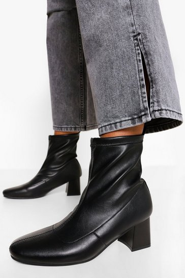 Black Loop Back Block Heel Sock Boots