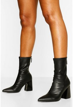Black Block Heel Pointed Toe Sock Boots