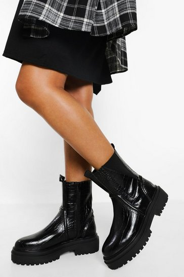Black Chunky Sole Gusset Detail Chelsea Boots