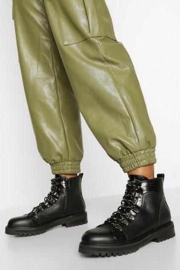 Black Croc Panel Chunky Hiker Boots