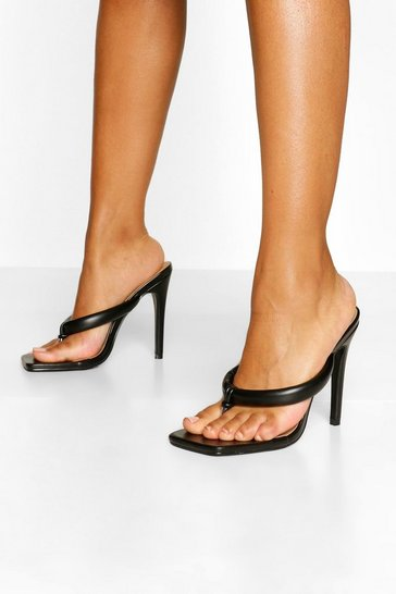 Black Padded Strap Toe Post Mules