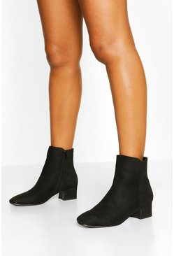 Black Low Block Heel Shoe Boots