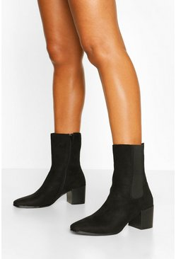 Black Block Heel Calf High Chelsea Boots