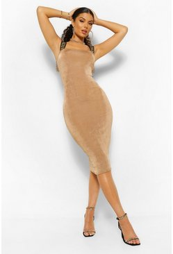 Champagne beige Geo Tape Textured Slinky Midi Dress