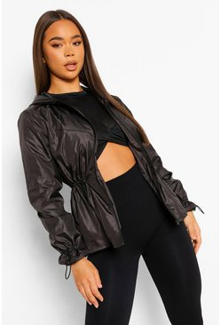 Black Fit Woman Waterproof Peplum Jacket