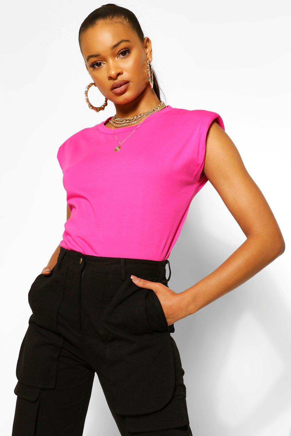 WOMENS Red Shoulder Pad Statement Jersey Tee
