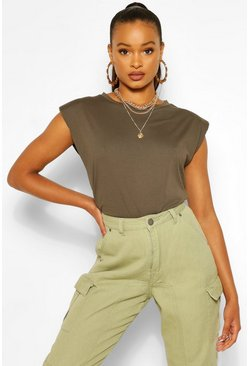 Khaki Shoulder Pad Statement Jersey Tee