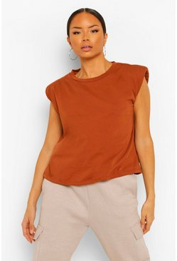Shoulder Pad Statement Jersey Tee, Tan marron