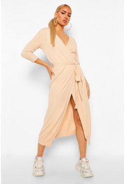 Camel beige Fine Knit Wrap Midi Dress