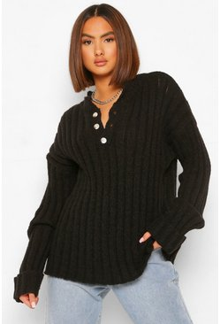 Black Chunky Rib Grandad Collar Jumper