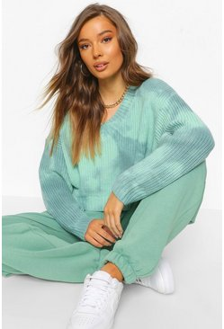Teal Tie Dye V Neck Jumper