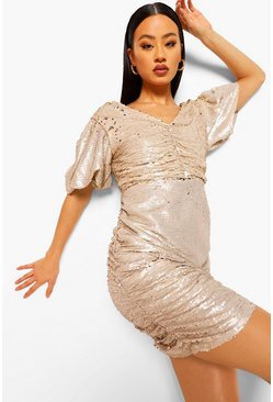 Gold metallic Sequin Two Tone Puff Sleeve Mini Dress