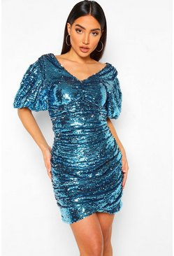 Silver Sequin Two Tone Puff Sleeve Mini Dress