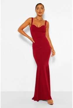 Berry Fitted Fishtail Maxi Bridesmaid Dress