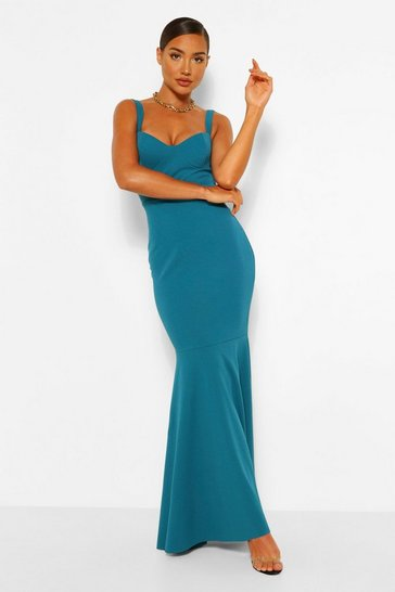 Teal green Fitted Fishtail Maxi Bridesmaid Dress