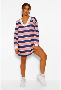 Pink High Neck Stripe Sweatshirt Dress
