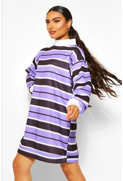 High Neck Stripe Sweat Dress, Lilac violett