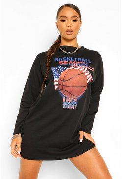 Black Long Sleeve Basket Ball T Shirt Dress