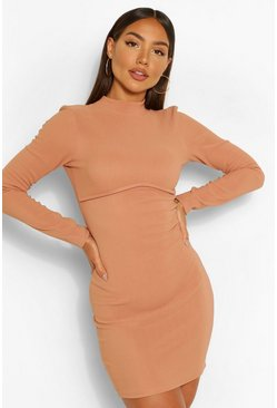 Mocha beige Bandage Rib High Neck Long Sleeve Mini Dress