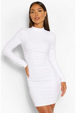 White Bandage Rib High Neck Long Sleeve Mini Dress