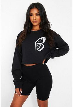 Black Half Butterfly Print Crop Sweat
