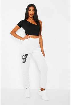 Wit white Joggingbroek met halve vlinderprint