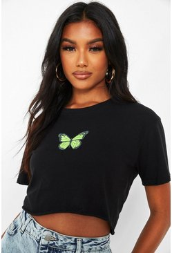 Black Butterfly Print Crop T-Shirt