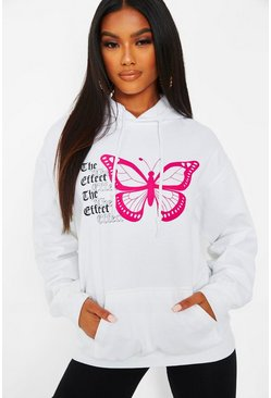 White 'The Effect' Butterfly Print Hoody