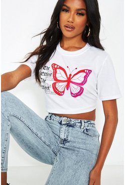 White 'The Effect' Butterfly Back Print Cropped T-Shirt