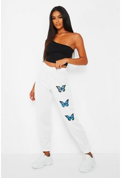 White Butterfly Thigh Print Joggers