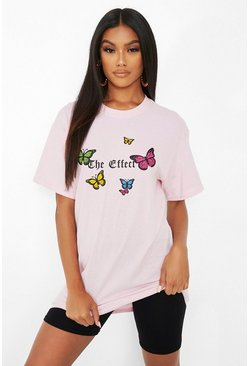 Pink 'The Effect' Butterfly Print T-Shirt