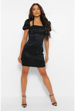 Black Satin Halterneck Puff Sleeve Mini Dress