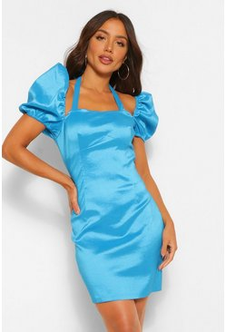 Blue Satin Halterneck Puff Sleeve Mini Dress