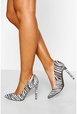 Zebra Pointed Toe Stiletto Heel Courts, White