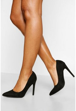 Black Pointed Toe Stiletto Heel Courts