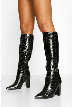 Black Croc Block Heel Knee High Boots