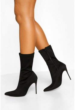 Black Stiletto Heel Pointed Toe Sock Boots