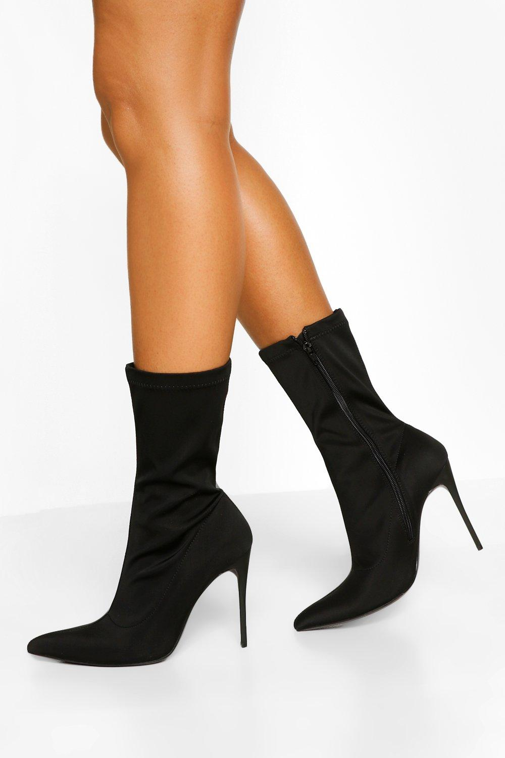 Stiletto Heel Pointed Toe Sock Boots | boohoo SE
